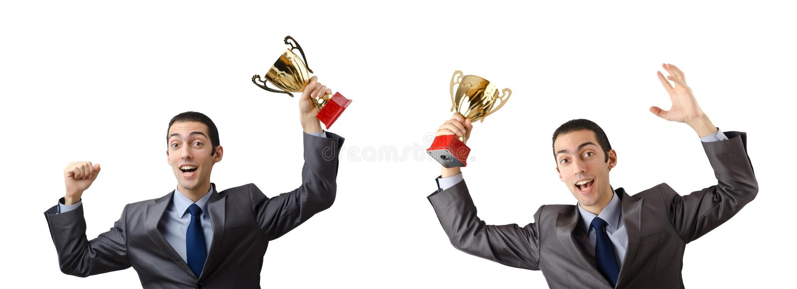 The collage of businessman receiving award. Collage of businessman receiving award royalty free stock photography