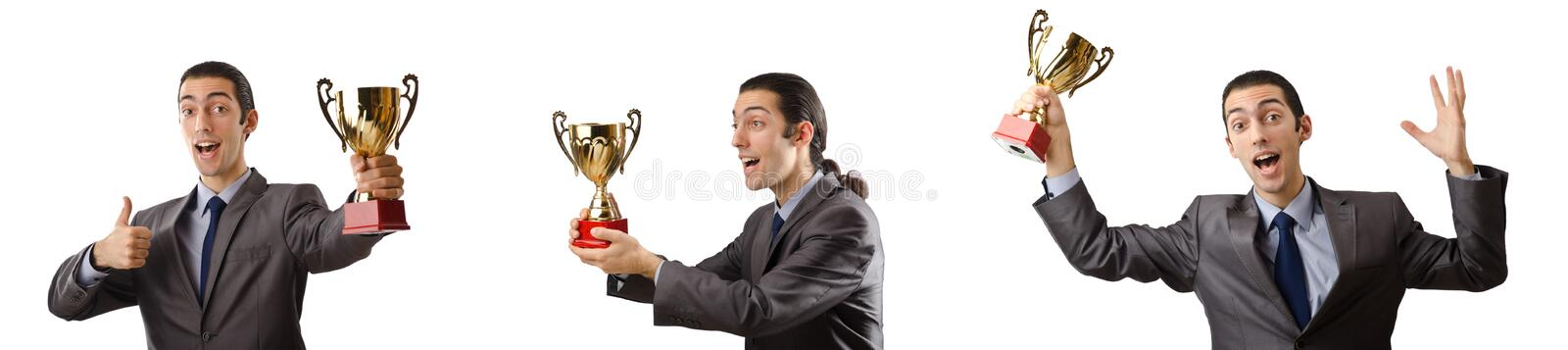 The collage of businessman receiving award. Collage of businessman receiving award stock photos