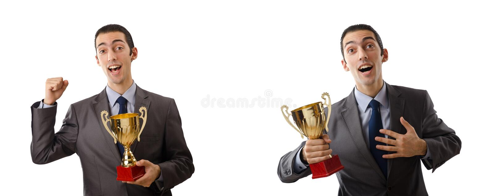 The collage of businessman receiving award. Collage of businessman receiving award royalty free stock photo