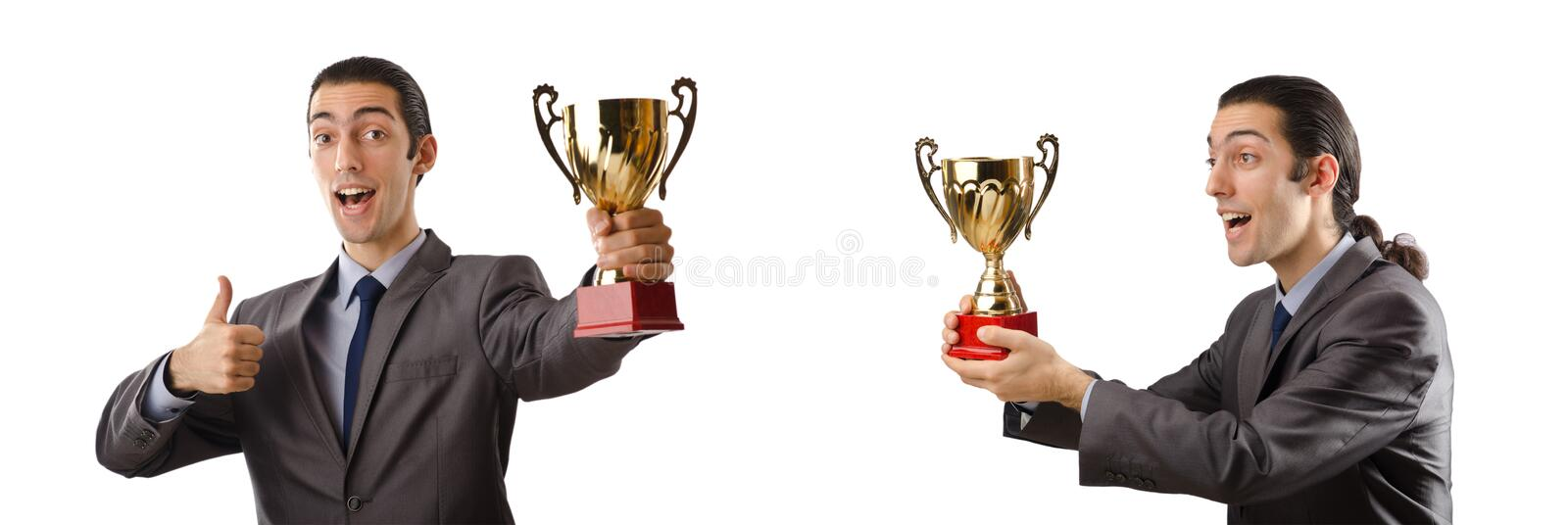 The collage of businessman receiving award. Collage of businessman receiving award royalty free stock images