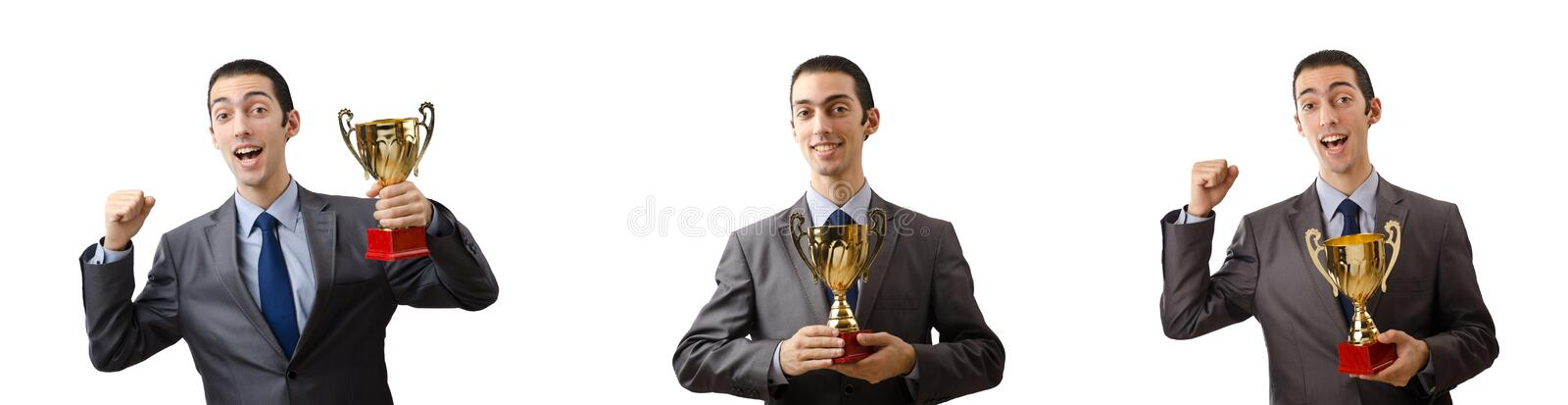 The collage of businessman receiving award. Collage of businessman receiving award stock photography