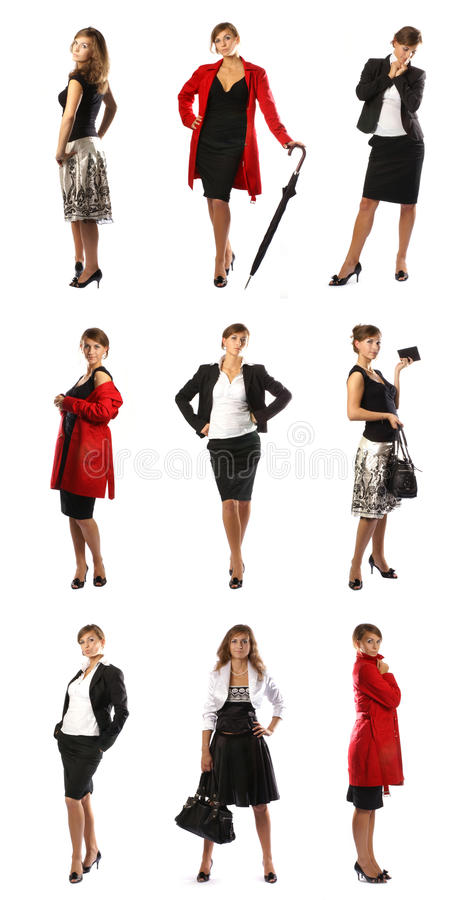 A collage of businesswomen in different clothes stock photography