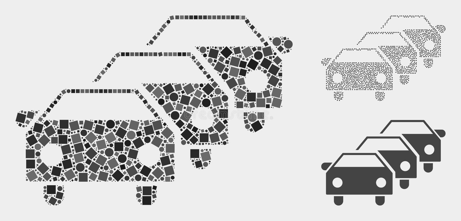Car Traffic Jam Icon Collages of Squares and Circles. Collage Car traffic jam icon composed of spheric and square items in random sizes, positions and royalty free illustration