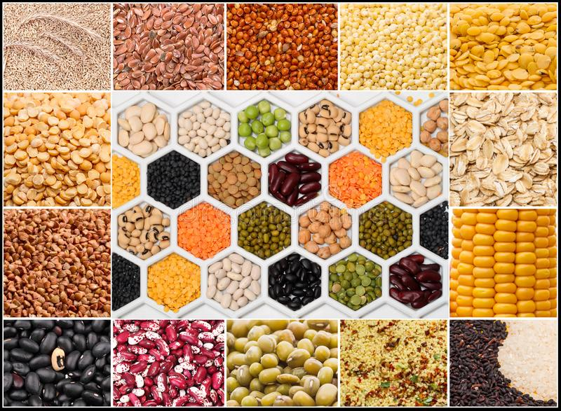 Collage of cereals and grains royalty free stock photography