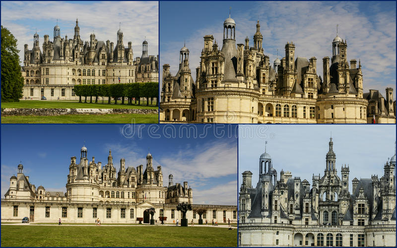 Collage of Chambord Castle,France royalty free stock photography