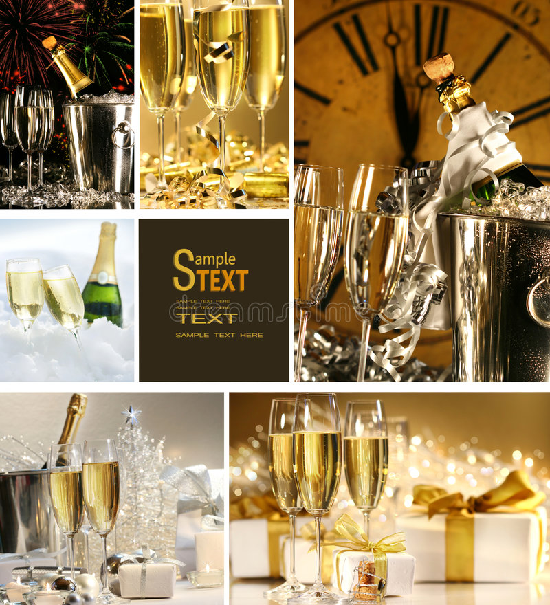 Collage of champagne images royalty free stock photo