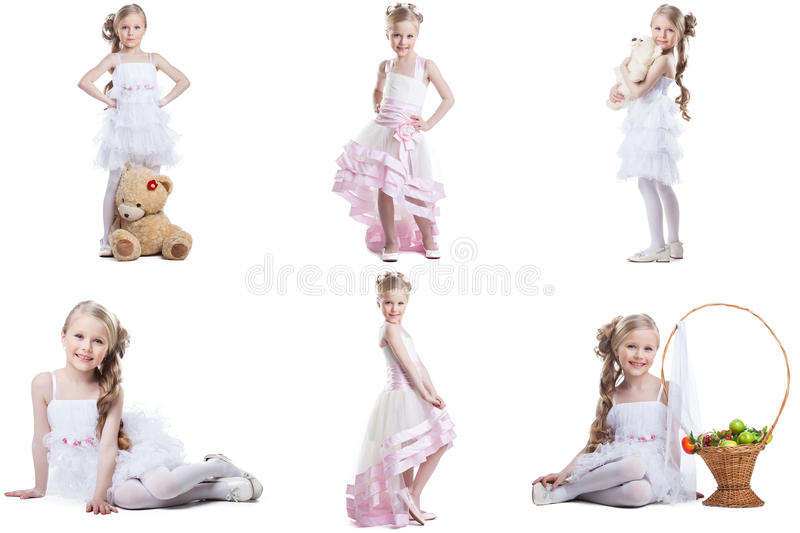 Collage of charming little model posing in dresses. Collage of charming little model posing in fancy dresses royalty free stock photo
