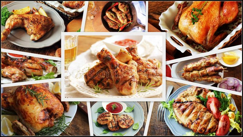 Collage of chicken meals . Set from various kinds of restaurant menu dishes stock image