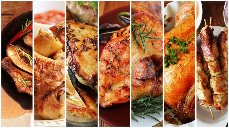 Collage of chicken meals . Set from various kinds of restaurant menu dishes in stripes royalty free stock photo