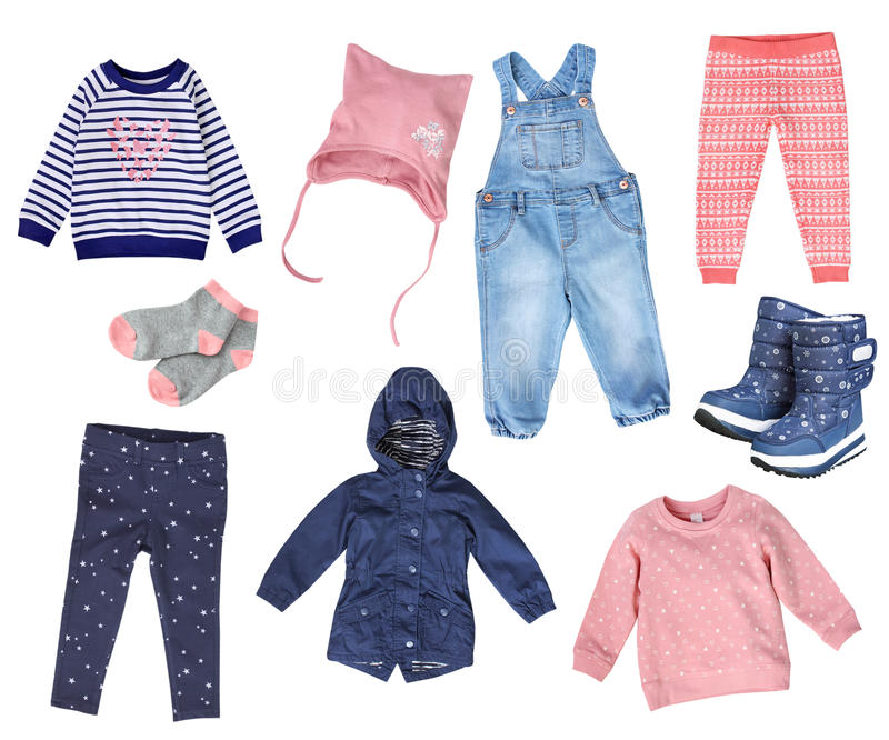 Collage of child girl fashion clothes isolated. royalty free stock images