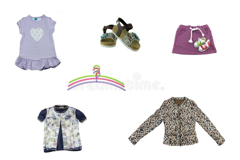 Collage of children clothes. Concept spring and summer clothes. royalty free stock photo