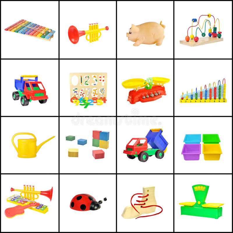 A collage of children's toys royalty free stock photography