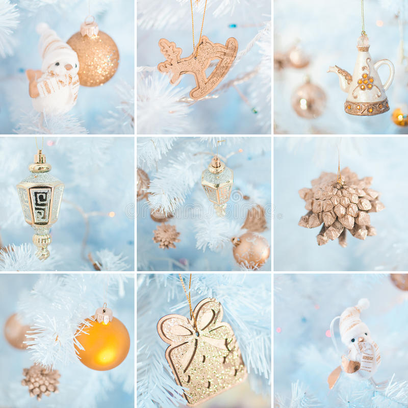 Collage of Christmas decoration stock image