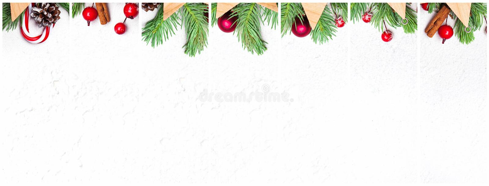 Collage of Christmas decoration. Composition set with green Xmas fir branch, red holly berries and baubles on white background royalty free stock photography