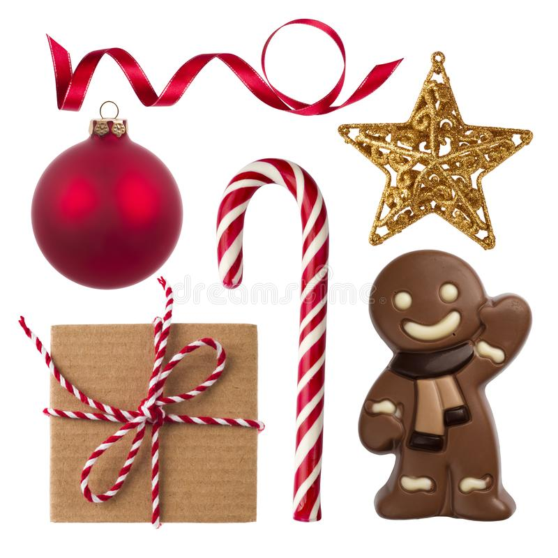 Collage of Christmas gift, decoration and sweets isolated on white stock photo