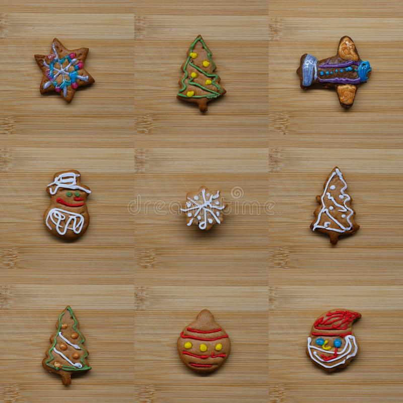 Collage of christmas gingerbread cookies stock images
