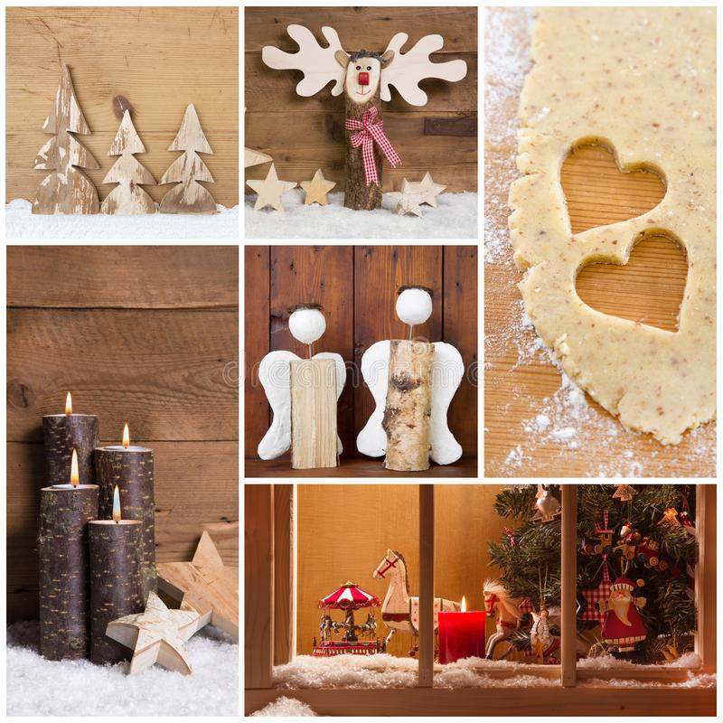Collage of Christmas photos and decorations on warm brown background. stock photos