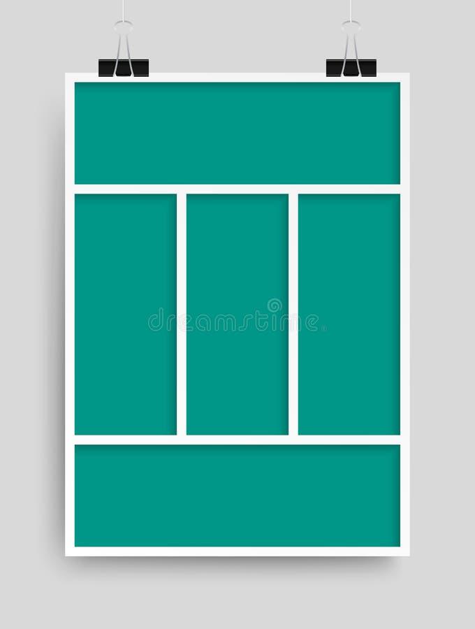 Collage cinco marcos, fotos, porciones o carteles stock de ilustración