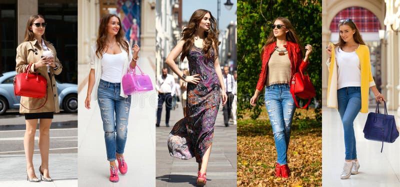 Collage cinq jeunes femmes de mode image stock