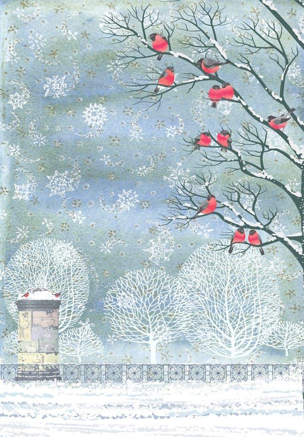 Collage - ciuffolotti sui rami di un albero illustrazione di stock