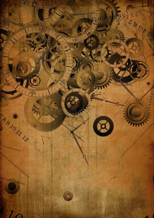 Collage of clocks on vintage background royalty free illustration