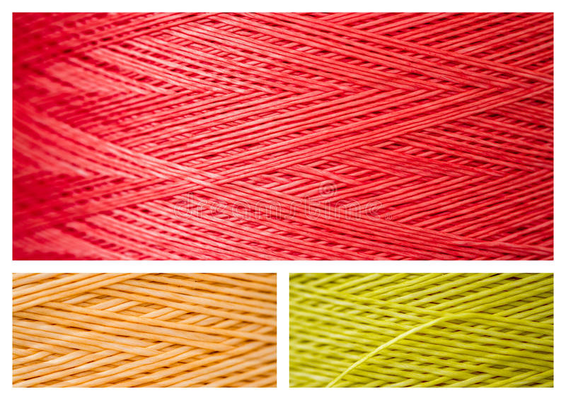 Collage from Close ups of Synthetic Colorful Threads stock image