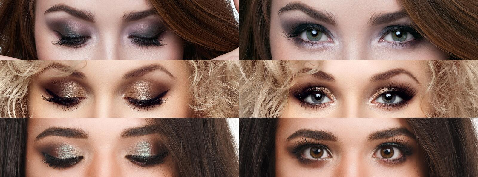 The collage closed and open eyes with different makeup. Bright makeup, cosmetics, mascara, eyeshadow. Beauty and fashion royalty free stock image