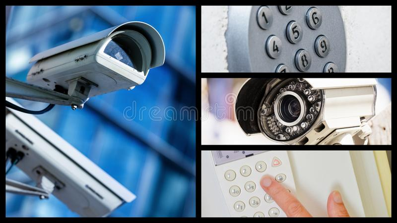 Collage of closeup security CCTV camera or surveillance system royalty free stock image