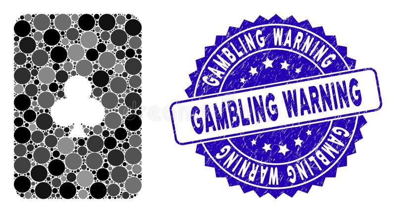 Collage Clubs Spielkartensymbol mit Grunge Gambling Warning Seal lizenzfreie abbildung