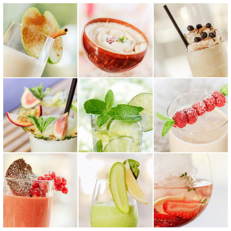 Collage of cocktails stock image