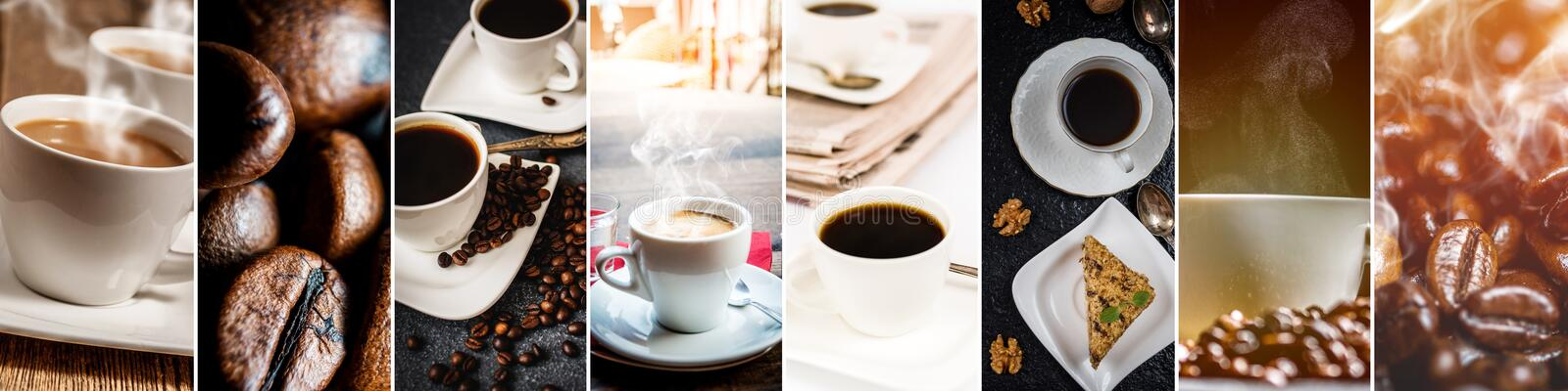 Collage of coffee royalty free stock photography
