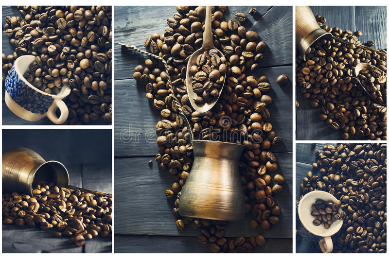 Collage of coffee. stock photo