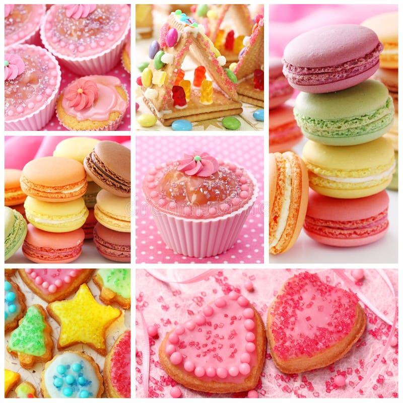Collage coloré de gâteaux photos libres de droits