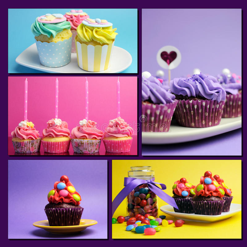Collage coloré des petits gâteaux lumineux de couleur photo stock