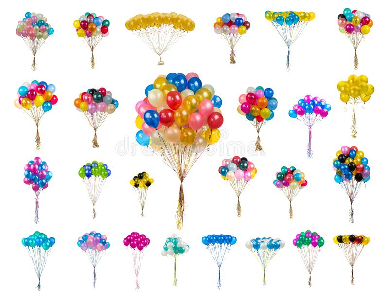 Collage color balloons on a white royalty free stock photography
