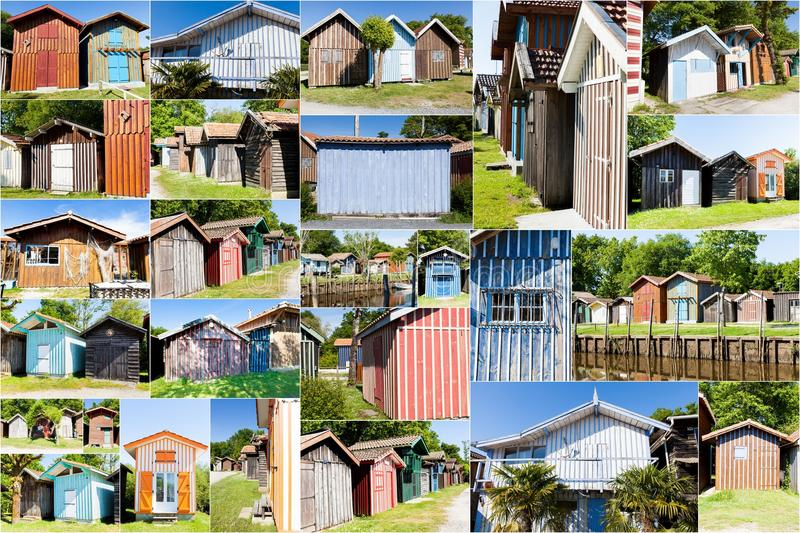 Collage of colored house stock images