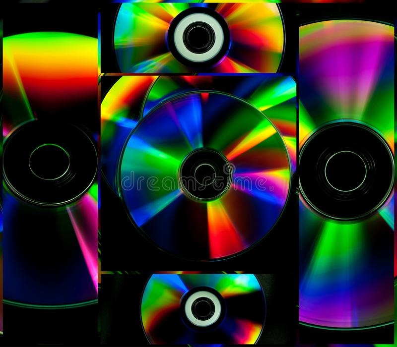 Collage CD and DVD computer disks royalty free stock photo
