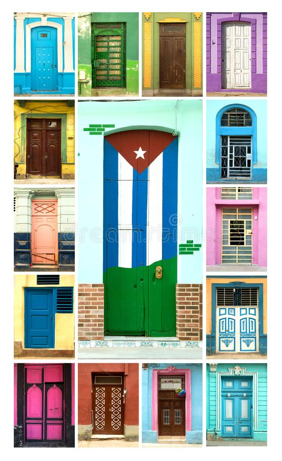 Collage of colorful doors in Havana in Cuba royalty free stock image