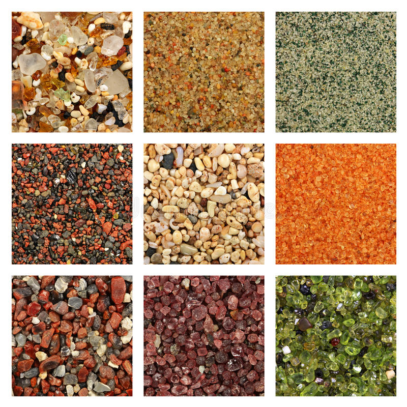 Collage of colorful sand samples stock photos