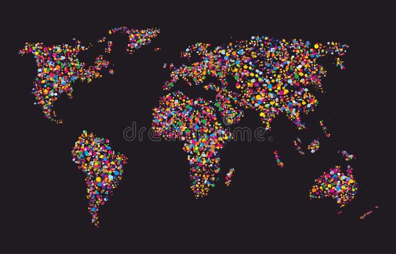 Collage colorido del mapa del mundo, vector del Grunge stock de ilustración
