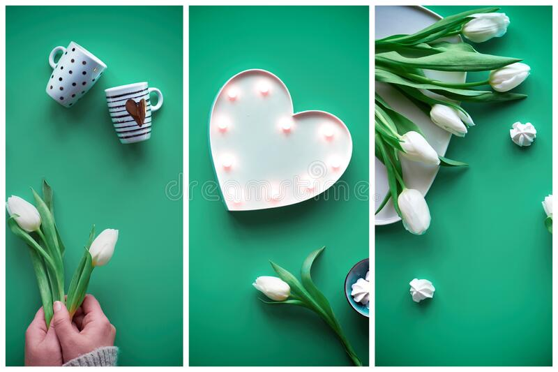 Collage, composite image. Spring geometric flat lay. Female hands show heart shape sign. Tea cup, tea pot, sweets, white tulips on stock photos