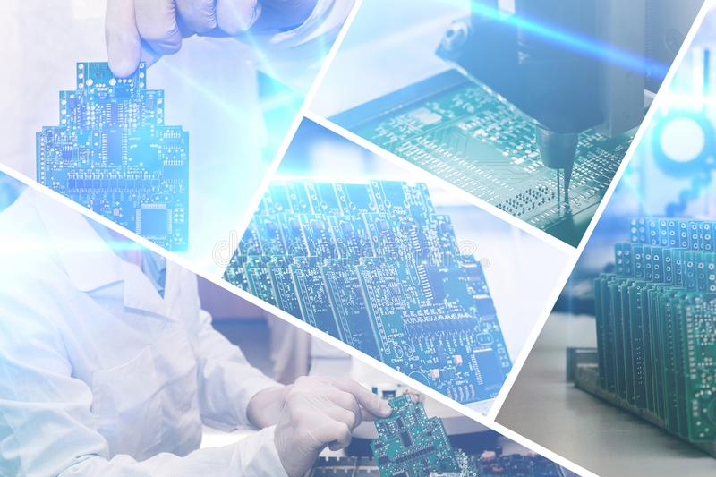 Collage of computer boards with visual effects in a futuristic style. The concept of modern and future technologies royalty free stock image