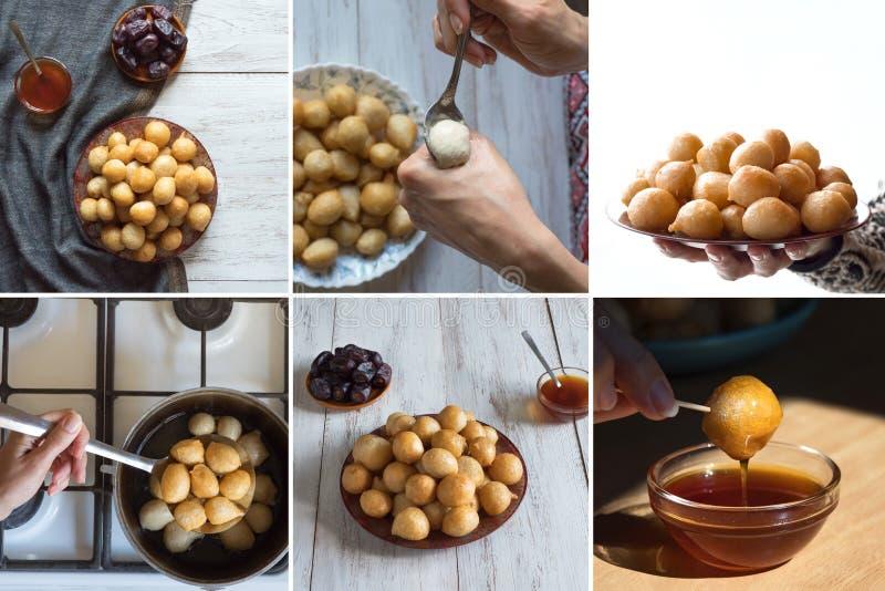 Collage con cocinar Luqaimat, bolas de masa hervida dulces tradicionales de los UAE Bolas de masa hervida dulces del Ramad?n foto de archivo