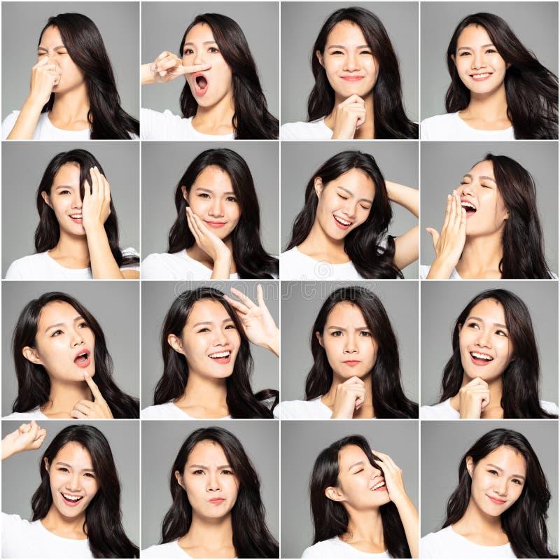 Collage con diversas emociones en la misma mujer joven fotos de archivo libres de regalías