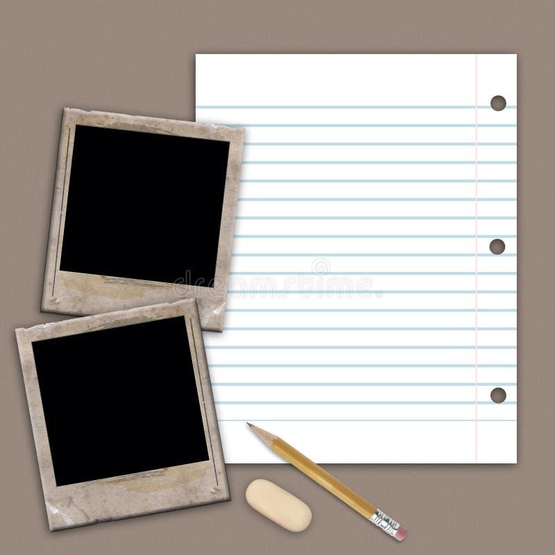 Collage con el marco y el lápiz de la foto stock de ilustración