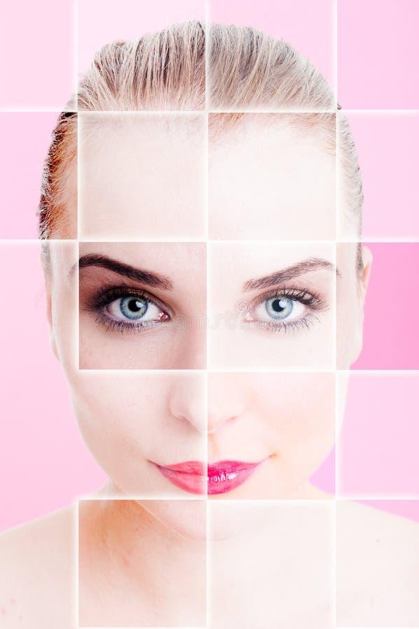Collage con el retrato de la mujer con la piel ideal fotos de archivo libres de regalías