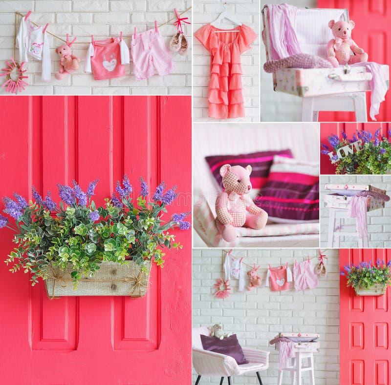 Collage con gli elementi rosa della decorazione interna immagine stock libera da diritti