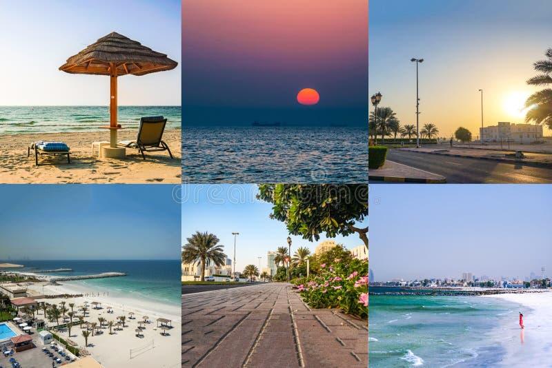 Collage con hermosas vistas de Ajman EMIRATOS ?RABES UNIDOS fotos de archivo libres de regalías