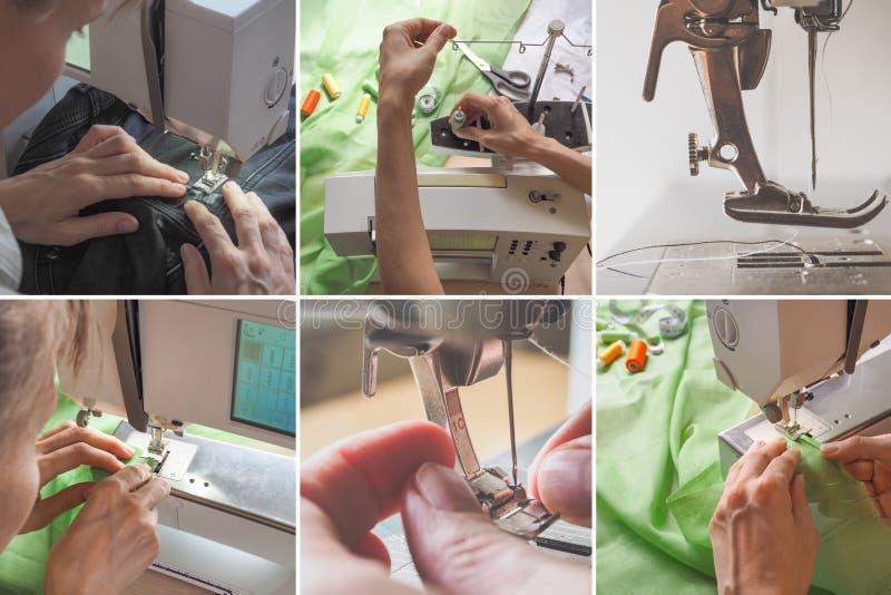 Collage con i colpi di una varietà di cucito sulla macchina immagine stock libera da diritti