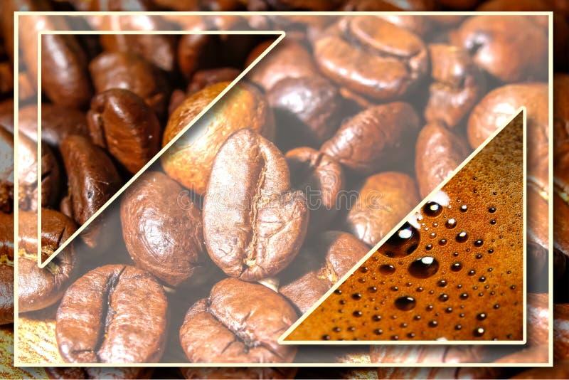 Collage con i dettagli del caffè fotografia stock libera da diritti